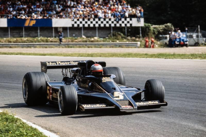 Mario Andretti (Lotus) driving at the 1977 Italian Grand Prix, Monza.
