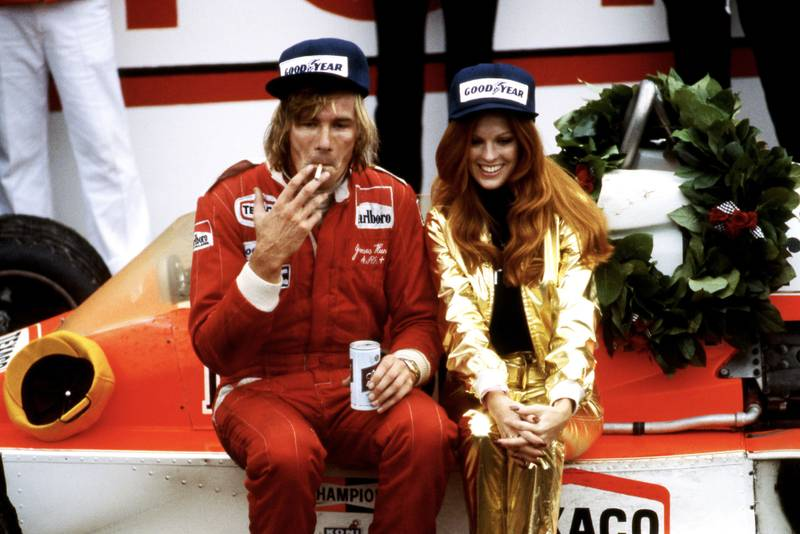 James Hunt (McLaren) celebrates winning the 1977 United States Grand Prix East, Watkins Glen.