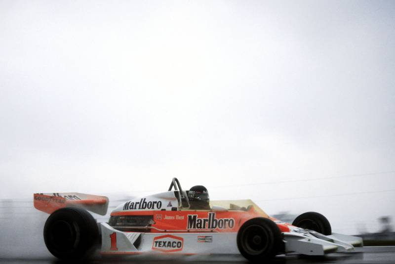 james Hunt (McLaren) driving in wet conditions at the 1977 United States Grand Prix East, Watkins Glen.