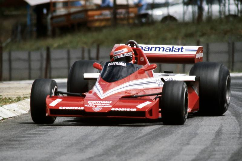 Niki Lauda (Brabham) oversteers at the 1978 South African Grand Prix, Kyalami.