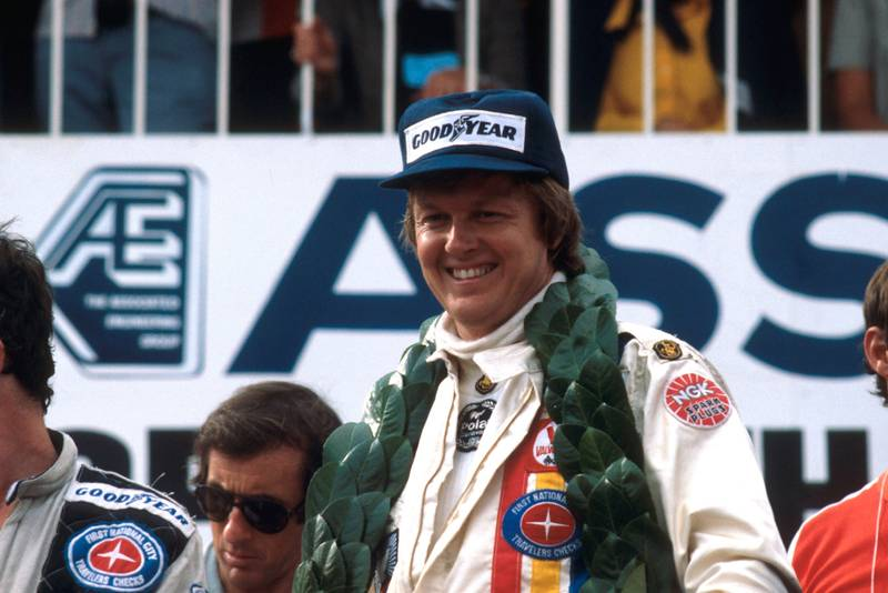 Ronnie Peterson (Lotus) on the podium at the 1978 South African Grand Prix.