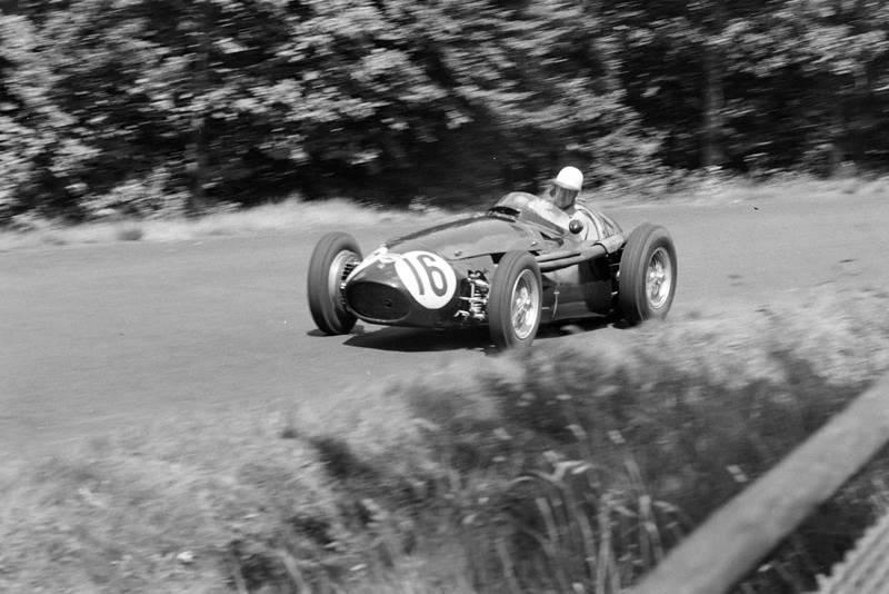 Roy Salvadori in his Maserati 250F at the 1956 German Grand Prix, Nurburgring.