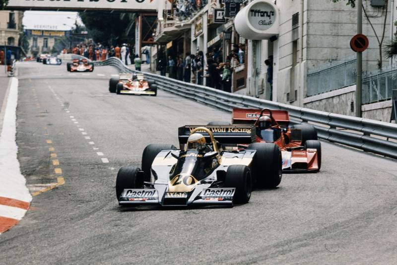 Jody Scheckter keeps his Wolf ahead of John Watson's Brabham at the 1978 Monaco Grand Prix.
