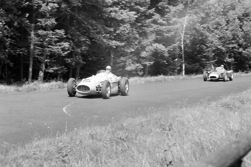 Louis Rosier throws his Maserati 250F into a corner at 1956 German Grand Prix, Nurburgring.