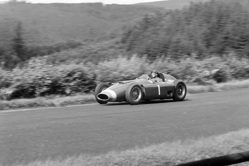 Juan Manuel Fangio taking his Ferrari to victory at 1956 German Grand Prix, Nurburgring.