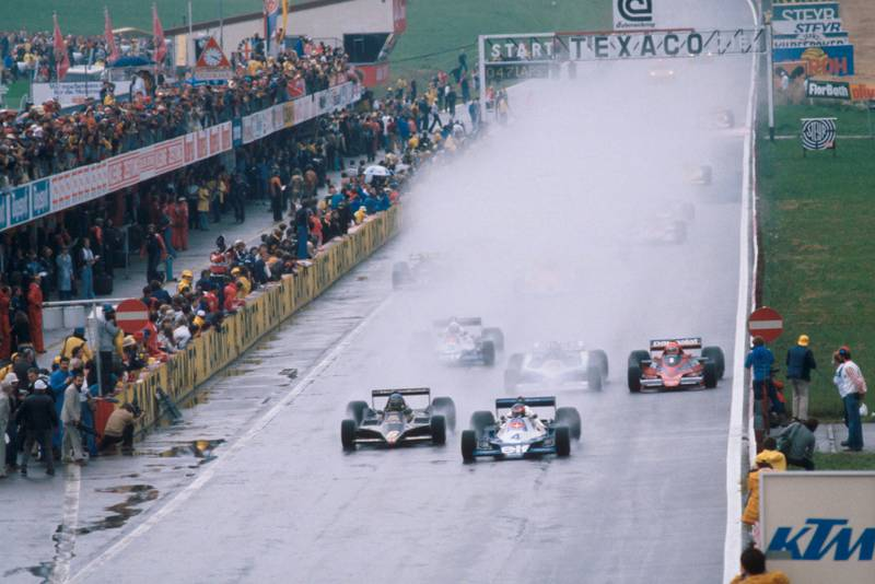 Ronnie Peterson (Lotus, left) Patrick Depailler (Tyrrell, right) at the 1978 Austrian Grand Prix, Österreichring.