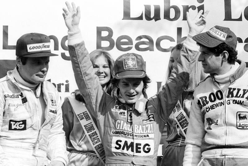 Gilles Villeneuve (Ferrari) celebrates winning the 2979 United States Grand Prix West, Long Beach.