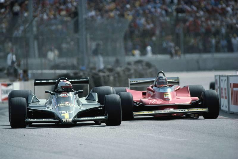 Mario Andretti keeps his Lotus ahead of the Ferrari of Gilles Villeneuve at the 1979 United States Grand Prix, Long Beach.