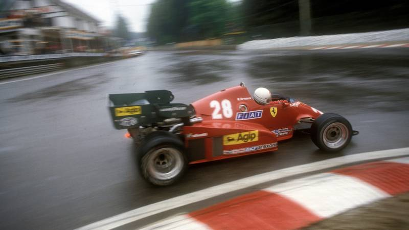 Rene Arnoux at La Source Spa Francorchamps during the 1983 Belgian Grand Prix