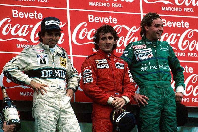 Winner Alain Prost, 2nd place Nelson Piquet and 3rd place Gerhard Berger on the podium.