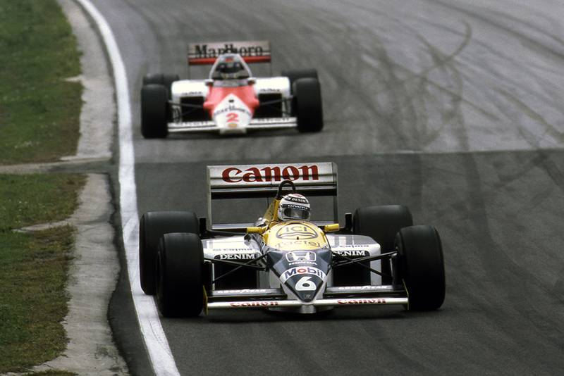 Nelson Piquet leads Keke Rosberg.