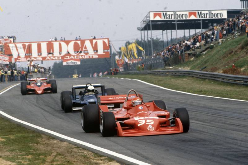 Alfa Romeo's Bruno Giacomelli competing at the 1979 Belgian Grand Prix, Zolder.