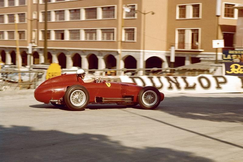 Wolfgang von Trips in his Lancia-Ferrari 80 at the 1957 Monaco Grand Prix.