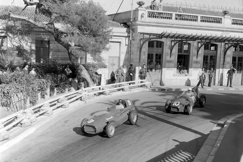 Tony Brooks, Vanwall, leads Stuart Lewis-Evans, Connaught B Alta, 1957 Monaco Grand Prix