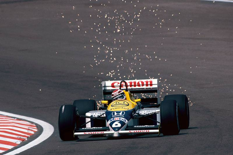 Nelson Piquet (Williams FW11) retired due to a turbo boost control problem.
