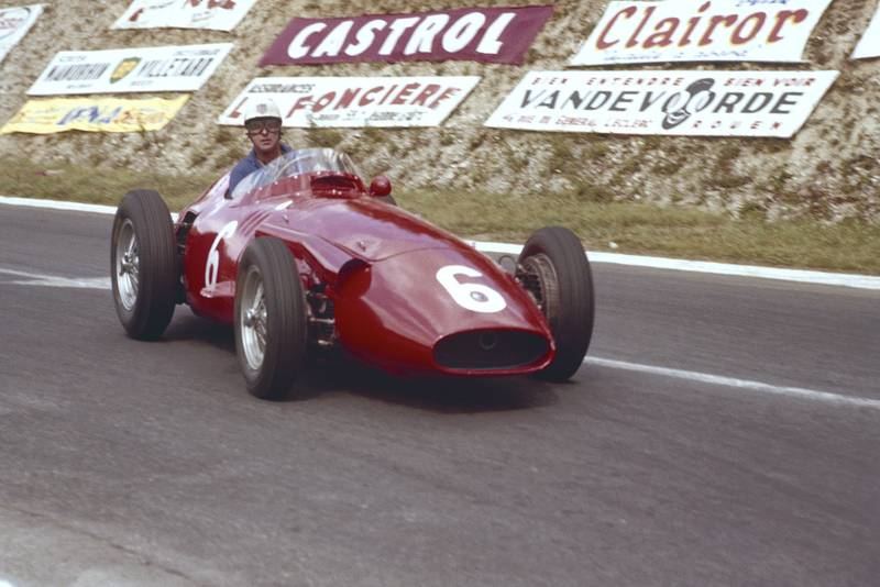 Harry Schell in the Maserati 250F at the 1957 French Grand Prix, Rouen.