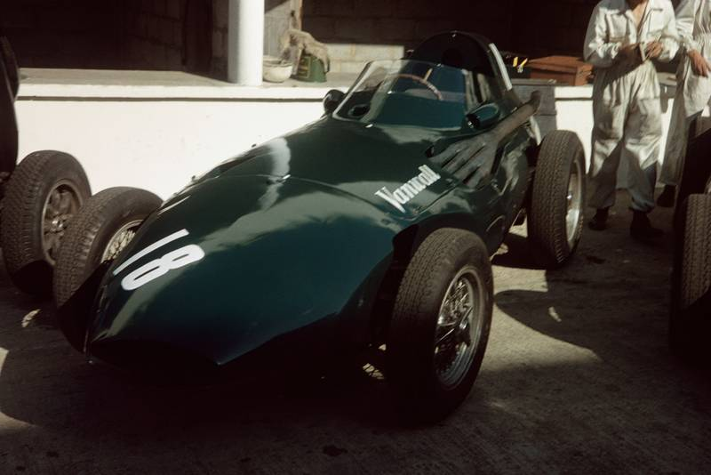 Stuart Lewis-Evans's Vanwall sits in the pits before the race