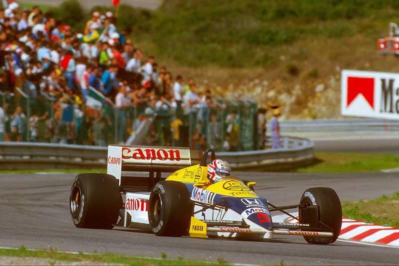 Nigel Mansell at the wheel of his Williams FW11 Honda.