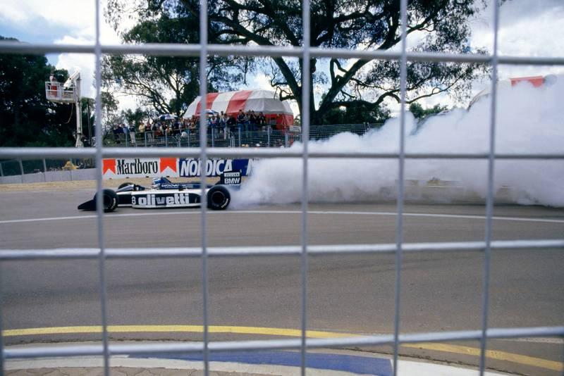 Derek Warwick's Brabham BT55 BMW blows up.