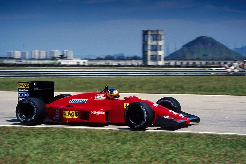 Michele Alboreto in his Ferrari F187.