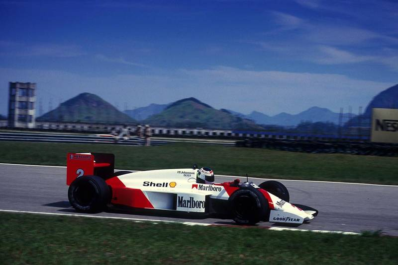 Stefan Johansson driving a McLaren MP4/3 to 3rd place.