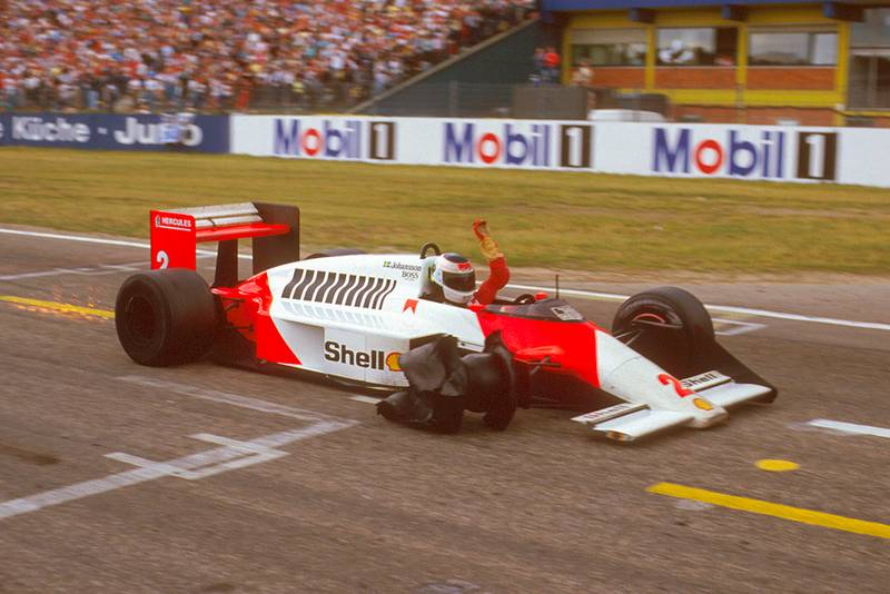 Stefan Johansson in his McLaren MP4/3 TAG Porsche finishing 2nd with only three wheels on the car.
