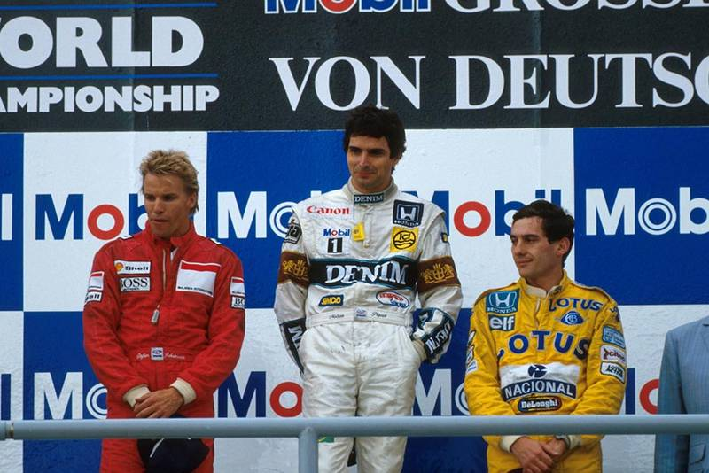 (L to R) 2nd place, Stefan Johansson, winner Nelson Piquet, 3rd place Ayrton Senna on the podium.