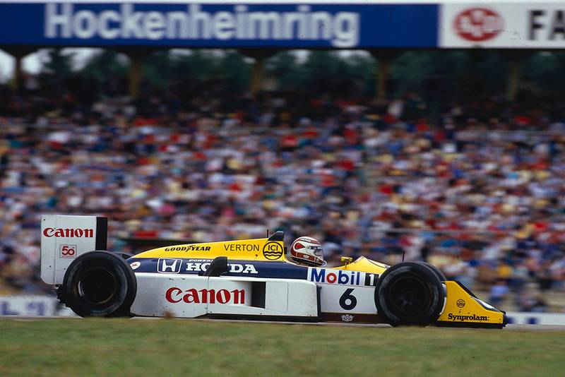 Nelson Piquet went on to win in his Williams FW11B Honda.