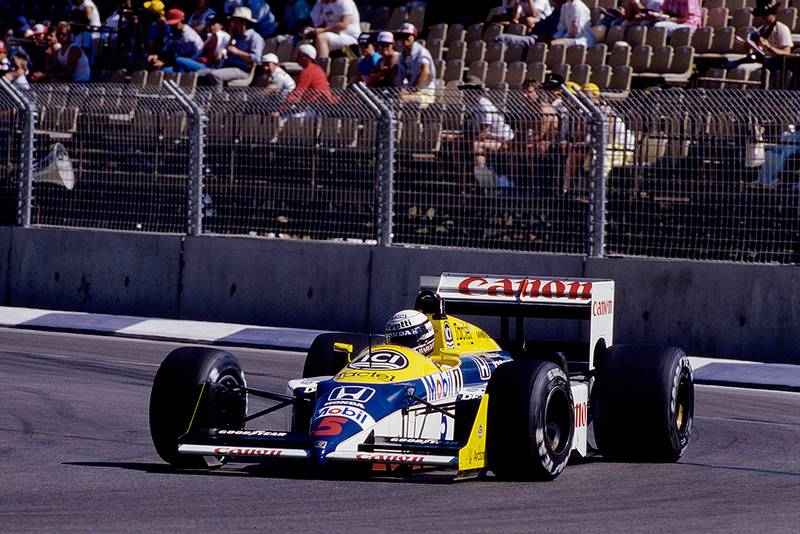 Riccardo Patrese at the wheel of his Williams FW11B Honda.