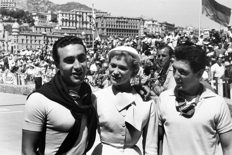 Eugenio Castellotti and Cesare Perdisa are congratulated after the race