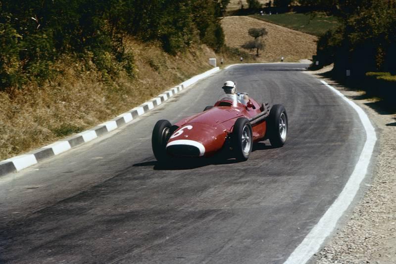 Harry Schell in his Maserati 250F, 1957 Pescara Grand Prix.