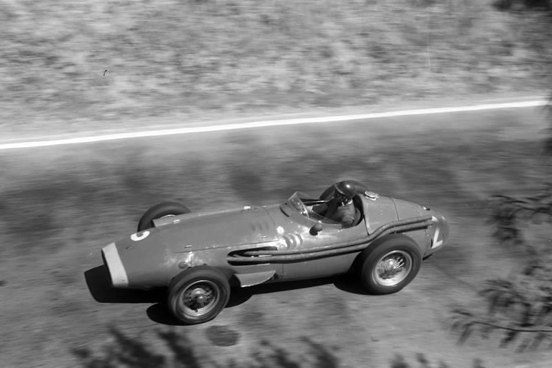 Juan Manuel Fangio in his Maserati 250F during the 1957 Pescara Grand Prix.