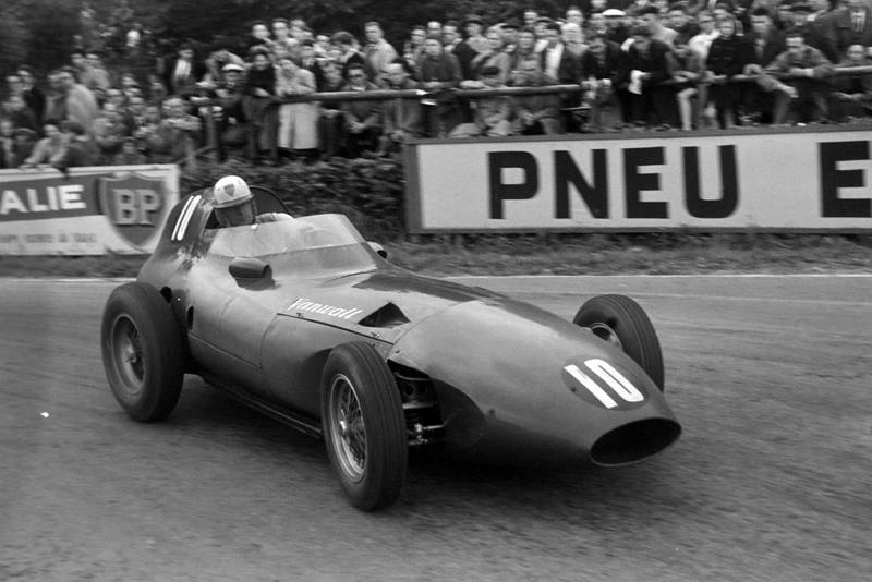 Harry Schell heads into La Source in his Vanwall