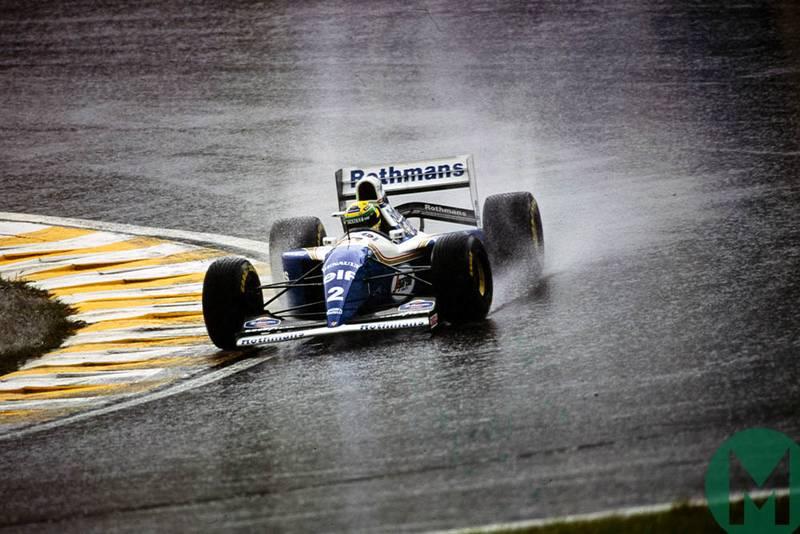 Ayrton Senna drives his Williams-Renault in the rain at the 1994 Brazilian Grand Prix