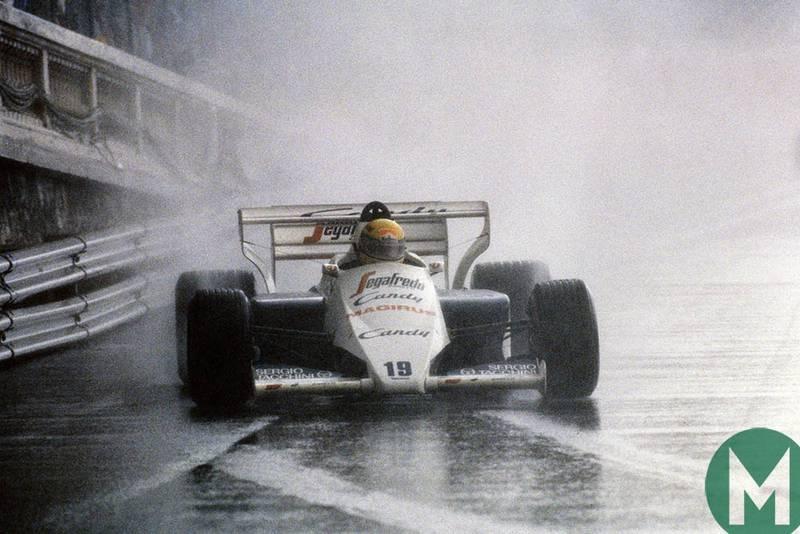 Ayrton Senna drives his Toleman through the rain at the 1984 Monaco Grand Prix