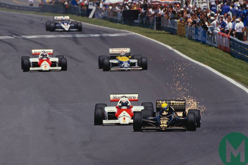 Alain Prost pushes Ayrton Senna at the 1985 Canadian Grand Prix