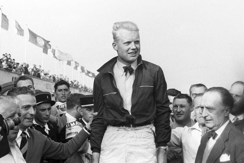 Mike Hawthorn, Grand Prix of France, Reims, 05 July 1953. Mike Hawthorn's first Grand Prix victory. (Photo by Bernard Cahier/Getty Images)