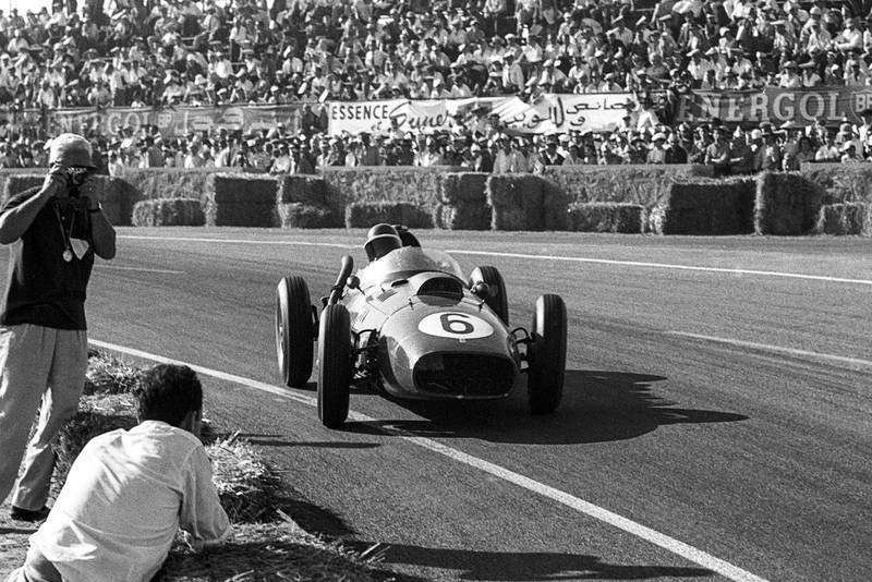 Mike Hawthorn, Ferrari 246, Grand Prix of Morocco, Ain-Diab Circuit, Casablanca, 19 October 1958. Mike Hawthorn on his way to second place in the 1958 Grand Prix of Morocco, the final race of the season, when he clinched the World Championship title. (Photo by Bernard Cahier/Getty Images)