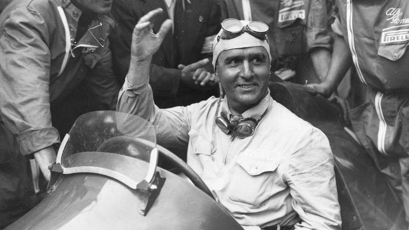 Giuseppe Farina surrounded by crowds after winning the 1950 International Trophy Race at Silverstone