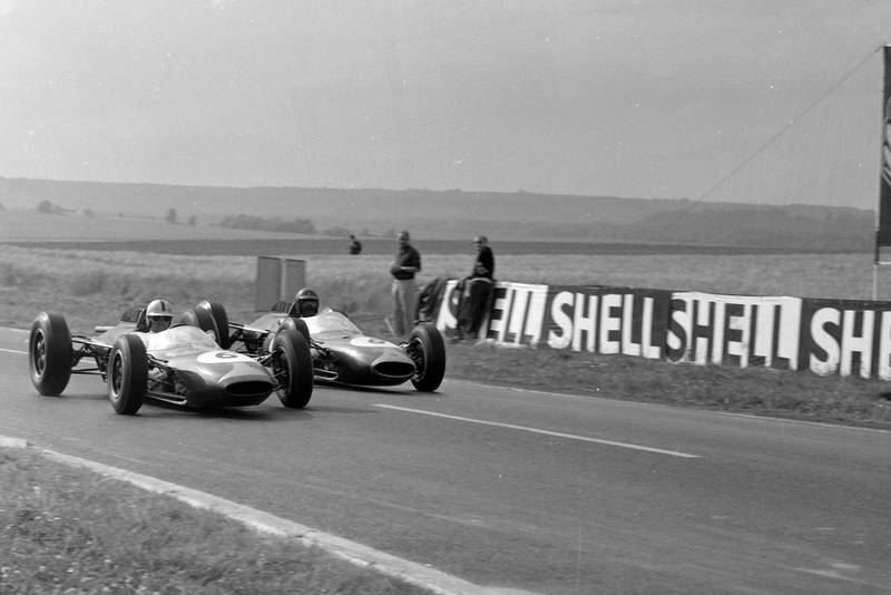 The two Brabham's were slipstreaming in an attempt to climb up the order