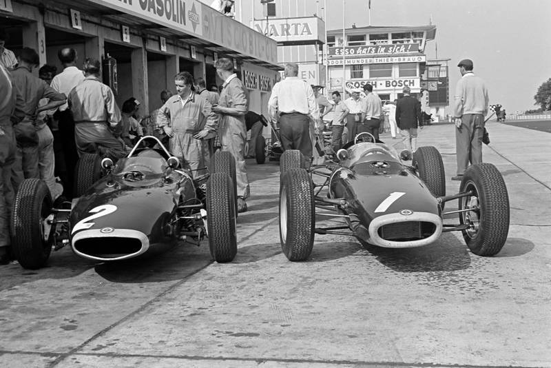 The BRM P57 cars of Graham Hill and Richie Ginther.