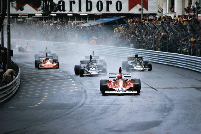 Niki Lauda (Ferrari) leads at the start of the 1975 Monaco Grand Prix.