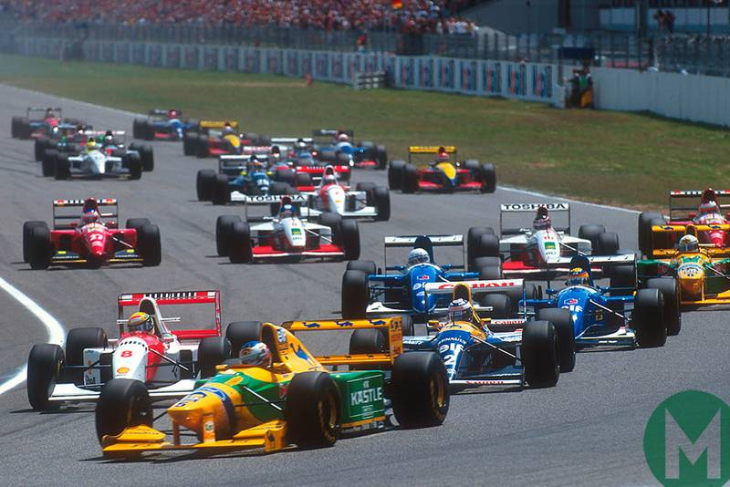 Michael Schumacher leads the pack into the first corner at 1993 German GP