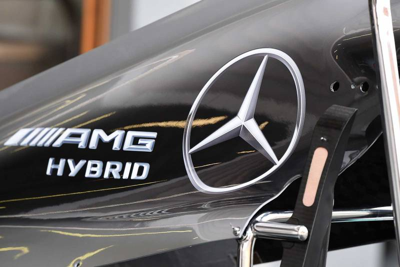 Close up of Mercedes engine cover during F1 testing 2014