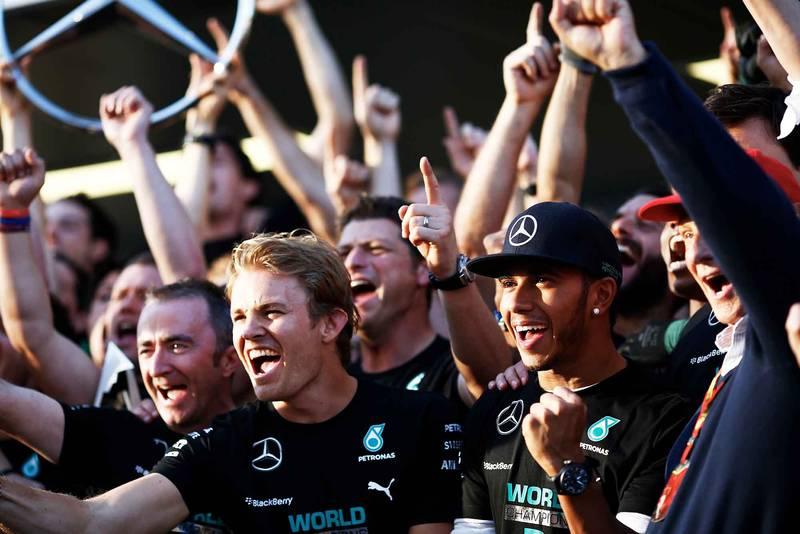 Nico Rosberg, Lewis Hamilton and Mercedes F1 team celebrate 2014 constructors title at Russian Grand Prix