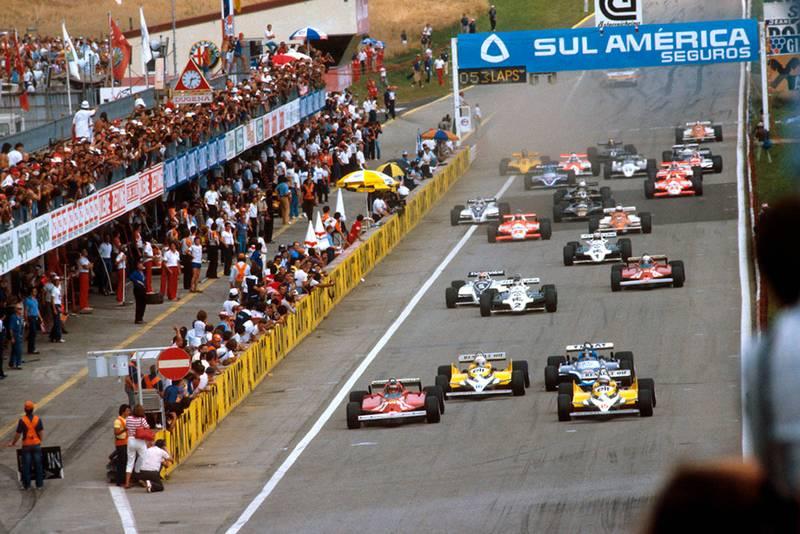 Alain Prost (Renault RE30) leads Gilles Villeneuve (Ferrari 126CK) Rene Arnoux (Renault RE30) and Jacques Laffite (Ligier JS17 Matra) at the start.