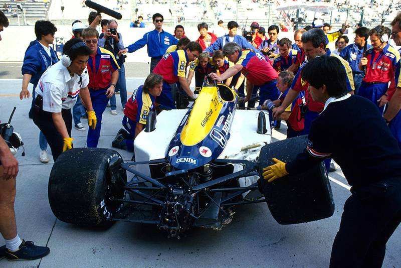 Nigel Mansell suffered a huge crash in practice and had to withdraw from the Japanese Grand Prix.