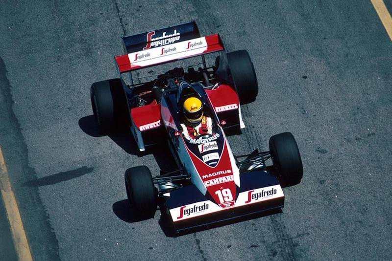 Ayrton Senna in a Toleman TG183B.