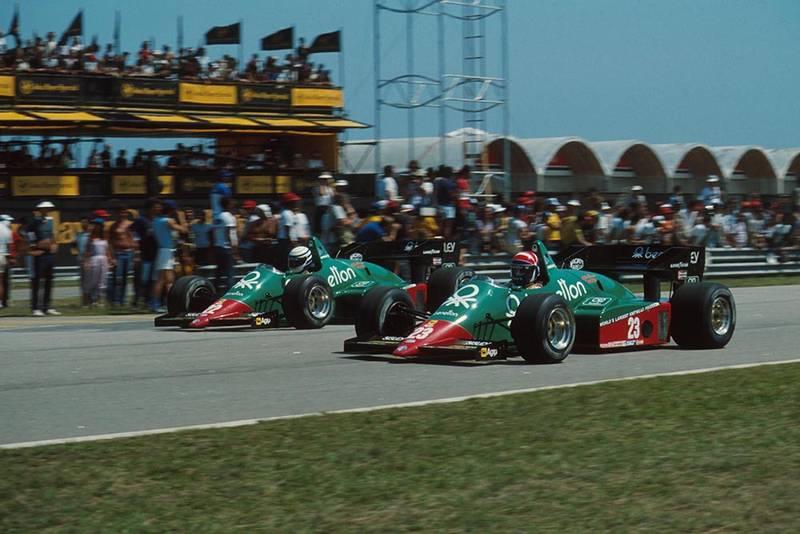 Ricardo Patrese and teamate Eddie Cheever battle in their Alfa Romeo 184Ts.