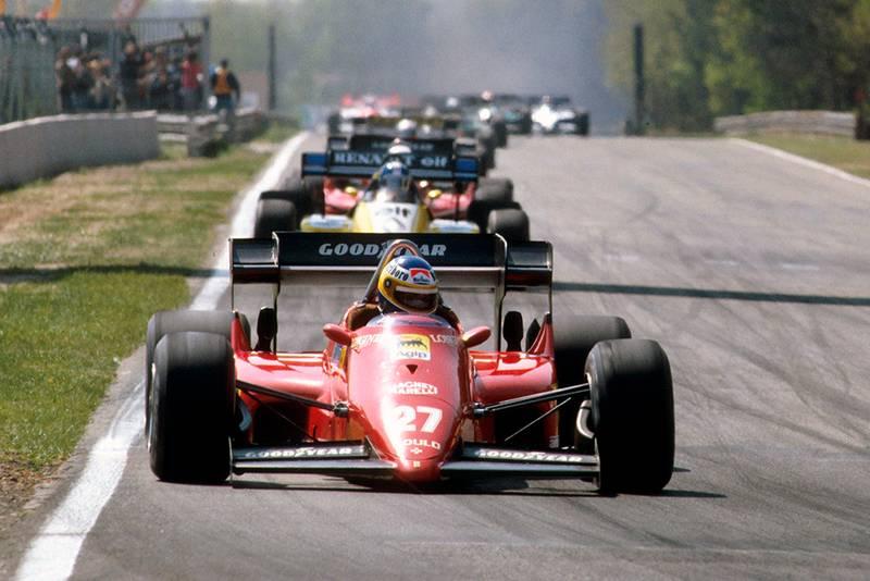 Michele Alboreto driving a Ferrari 126C4 in 1st position.